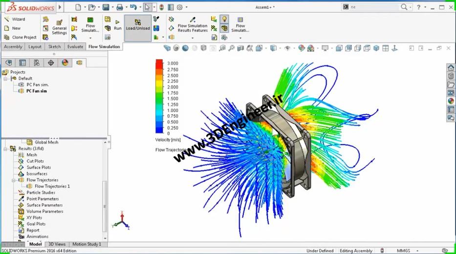 طراحی فن و شبیه سازی جریان هوا